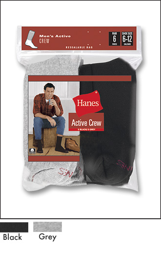 ACTIVE CREW - 3 BLACK / 3 GREY