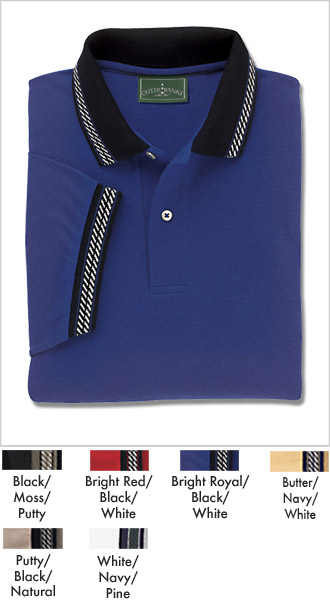 Mens Cotton Pique Jacquard Trim Golfing Shirt