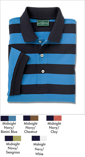 Mens Pique Rugby Striped Golf Shirt