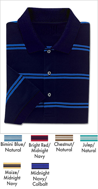Double Mercerized Pima Pique Striped Golf Shirt
