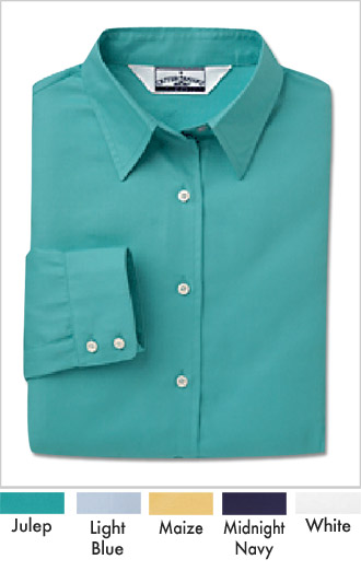Women's Silky Cotton Dobby Twill Dress Shirt - Click Image to Close