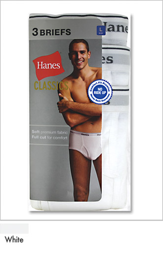 Hanes Mens Full-Cut Underwear Brief 3 Pack