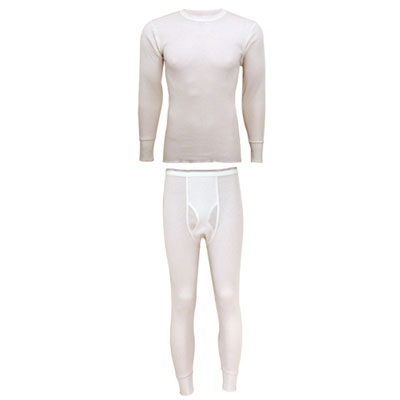 White 100% Cotton Lightweight Long Johns
