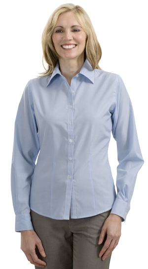 Port Authority® - Ladies Long Sleeve Bamboo Blend Fine Stri