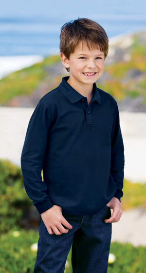 Port Authority® - Youth Silk Touch™ Long Sleeve Sport - Click Image to Close