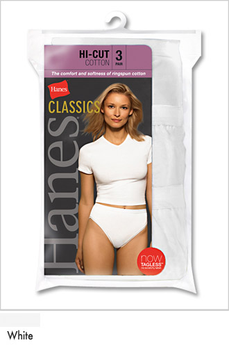Womens White Cotton Hi Cut Athletic Briefs