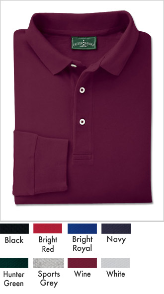 Mens Cotton Long-Sleeve Polo Shirts - Click Image to Close