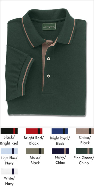 Men's Stripe Trim Pique Polo Shirts - Click Image to Close