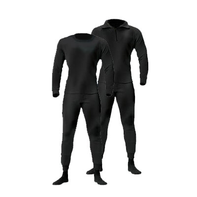 Black Zip Neck HeavyWeight Polypro Long Johns