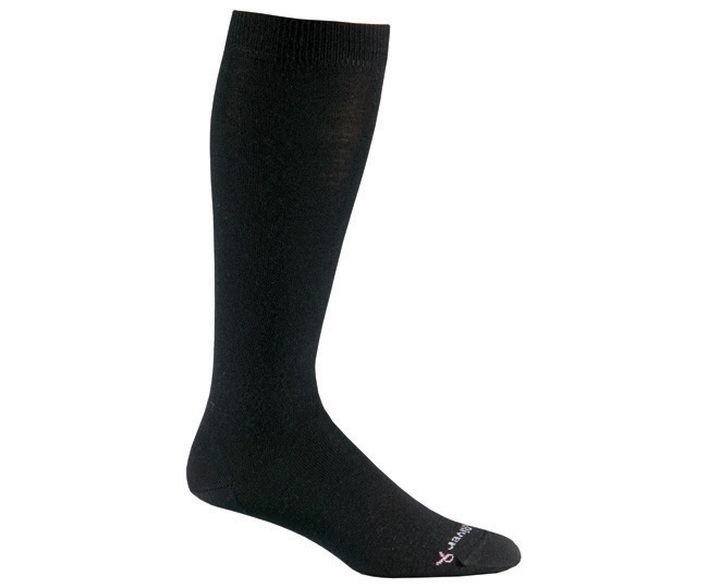 Womens Solid Black Merino Wool Knee High Casual Socks