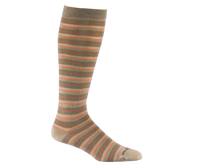 Womens Taupe Merino Wool Knee High Striped Socks